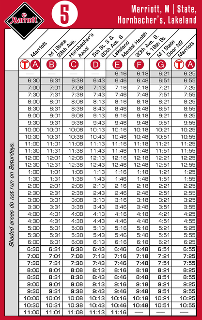 Route 5 Timetable - 8/1/18