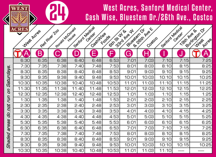 Route 24 Timetable - 8/1/18