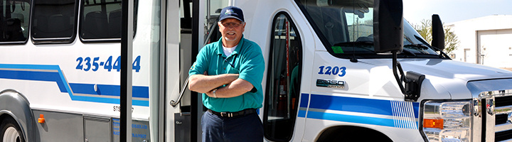 Paratransit Driver and Bus